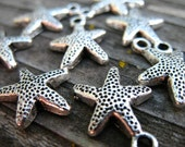 12 Silver Starfish Charms 16mm Antiqued Silver