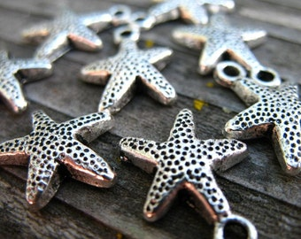 24 Silver Starfish Charms 16mm Antiqued Silver