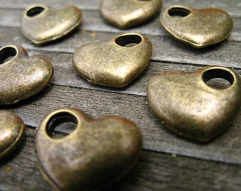 12 Antiqued Bronze Heart Charms 13mm Puffy Hearts