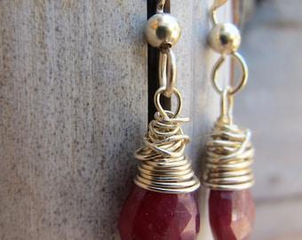 Ruby Gold Earrings - Birthstone Jewelry - July Birthstone