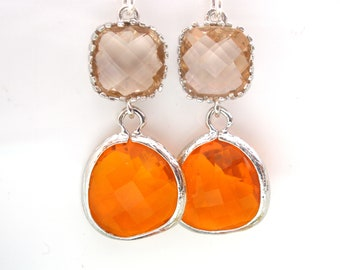 Glass Earrings, Peach Earrings, Orange Earrings, Tangerine, Silver Earrings, Bridesmaid Earrings, Bridesmaid Gifts, Spring Jewelry