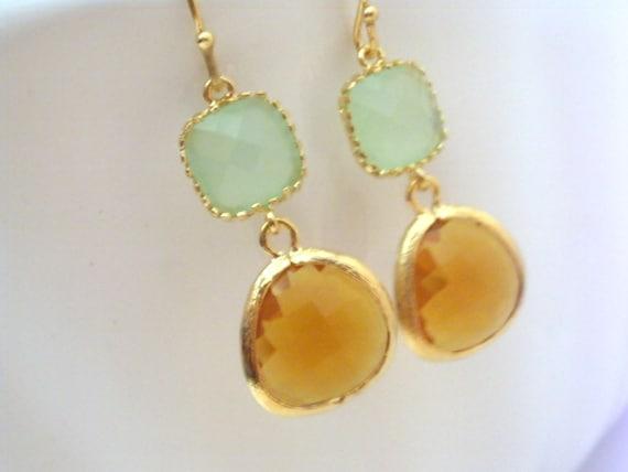 Glass Earrings, Topaz Earrings, MInt Earrings, Brown, Green, Caramel, Bridesmaid Earrings, Bridal Earrings Jewelry, Bridesmaid Gifts