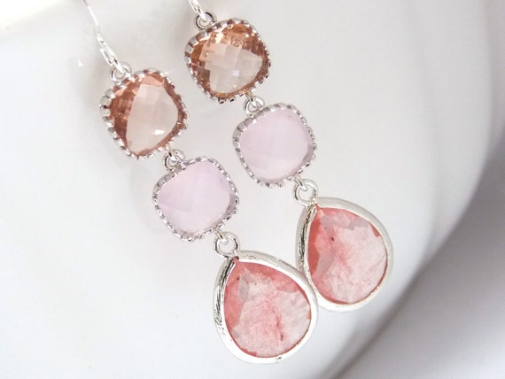 Pink Earrings, Peach Earrings, Coral, Champagne, Silver Earrings, Bridesmaid Jewelry, Bridesmaid Earrings, Bridal Jewelry, Bridesmaid Gifts