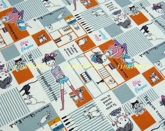 """L361A  - Japanese Cotton Linen Fabric - Lovely Girl And Cat  - 26.4"""" x 19""""(67 x 50cm)"""