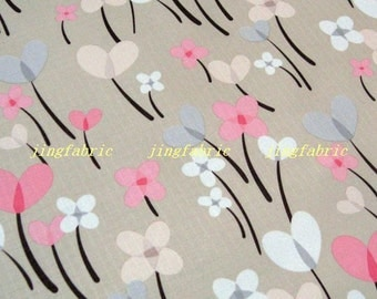 "W053C  - Vinyl Waterproof Fabric - Flower - Ballon  - Grey - 27"" x 19"" (70cm x 50cm)"