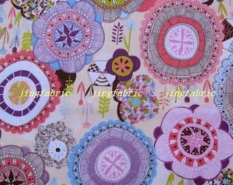 """W186A  - Vinyl Waterproof Fabric - Flowers - beige  - 27""""x19""""(70cmX50cm)"""