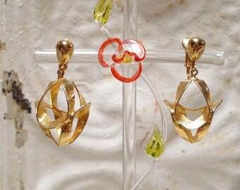 Gold Dangle Clip Earrings