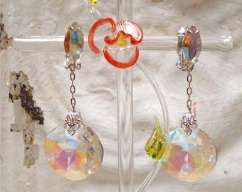 Stunning Lewis Segal Clip Dangle Aurora Borealis Crystal Earrings