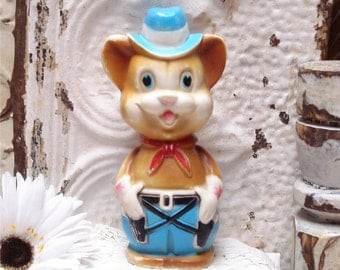 Rubber Bear Cowboy Squeek Toy Reliance 1971