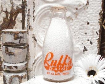 Squat Quart Milk Bottle RUFFS Dairy St Clair Mich