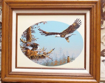 12X14 Eagle Oil Painting R Smith Family Nesting Babies