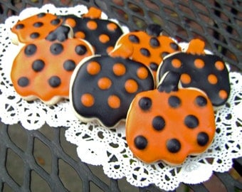 Mini Halloween Polka Dot Pumpkin Sugar Cookies - Halloween Pumpkin Cookies