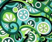 1 YARD--Mod swirls - Michael Miller Fabric - Kelly green- CX3297