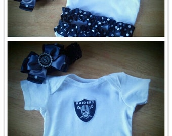 Oakland Raiders inspired ruffled bodysuit with hair bow