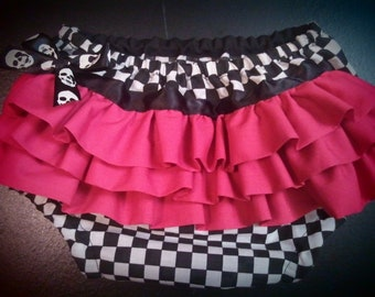 Checkered with pink ruffles diaper cover