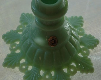 Vintage Westmoreland Glass Petal & Ring Pattern Single Candle Jade-Ite Creamy Mint Green - FREE SHIPPING