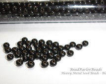Black Plated Metal Seed Beads - Size 8/0 - 50 grams