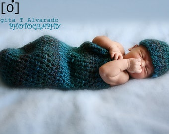 Ocean Blue Newborn Cocoon and Beanie Set Photo Prop