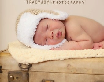 Newborn Aviator Hat Light Oatmeal Brown Photo Prop