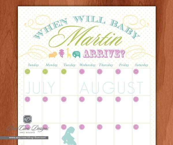Baby Due Date Calendar Safari Animal Design by duecuori on Etsy