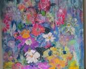 Mixed media acrylic floral 8x10 print of the original  whimsical, bohemian, home decor, artwork,
