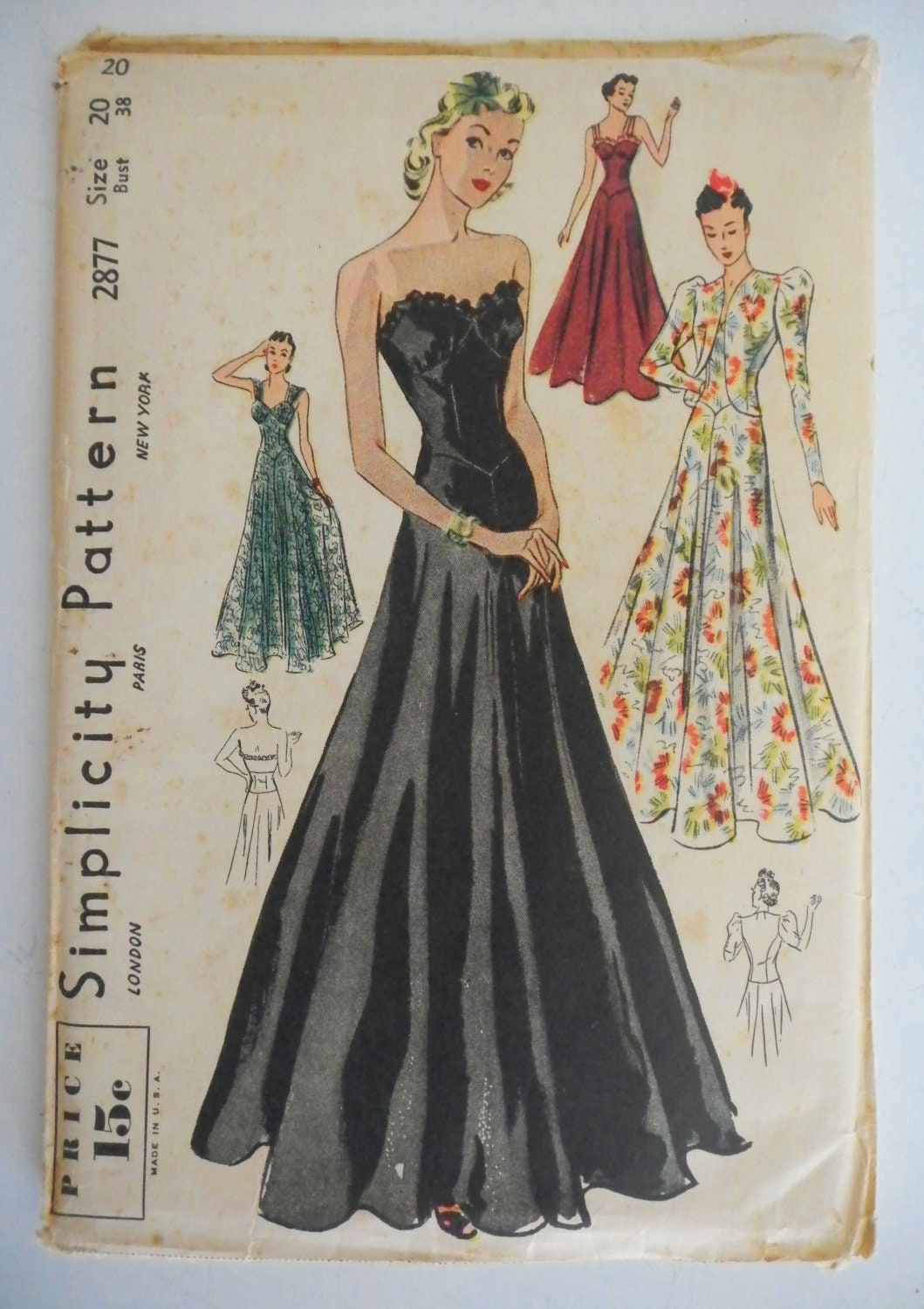 Vintage 1930s Simplicity Pattern Formal By Linbot1 On Etsy