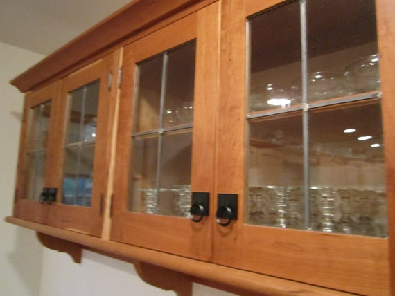 beveled kitchen cabinet doors custom cherry wall cabinet with leaded glass doors etsy 12280