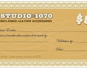 Gift Certificates now available in 50 dollar  increments for Studio1070 items