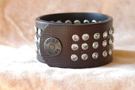 Womens Brown Leather Jeweled Cuff Bracelet with Hand Set Crystal Clear Rivets and  Detailed Snap