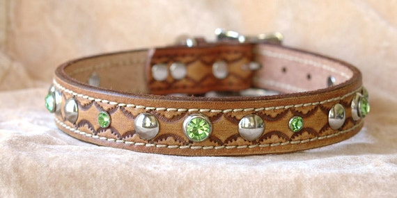 Western Brown Leather Dog Collar Glamorous with Silver and Green Jeweled Rivets Size MED / LRG