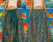 My Cool mint Green and Teal Green--Princess Long skirt--Free size - Plus size, Thai Batik.