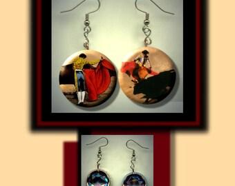 Matador Bullfighting Bullfighter Mismatched Altered Art Dangle Earrings with Rhinestone