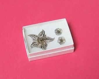 Silver Filigree Brooch & Matching Earrings, vintage