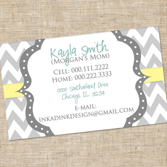 Personalized Mommy Calling Card, Customized Printable DIY, Informational, Business card style