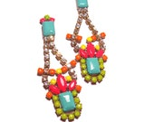 Long One of a Kind Neon Hand Painted Vintage Rhinestone Earrings - Crazy Beautiful II (Example)