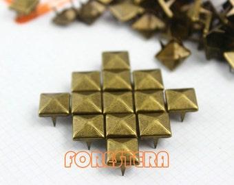 9mm Antique Brass Pyramid Stud Punk Rock Leathercraft Stud (BP09)