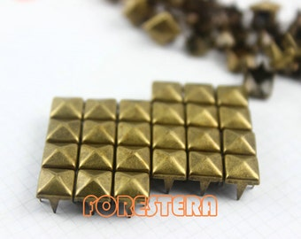 6mm Antique Brass Pyramid Stud Punk Rock Leathercraft Stud (BP06)