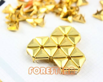 100Pcs 10mm Gold Triangle Studs Metal Studs (JT10)