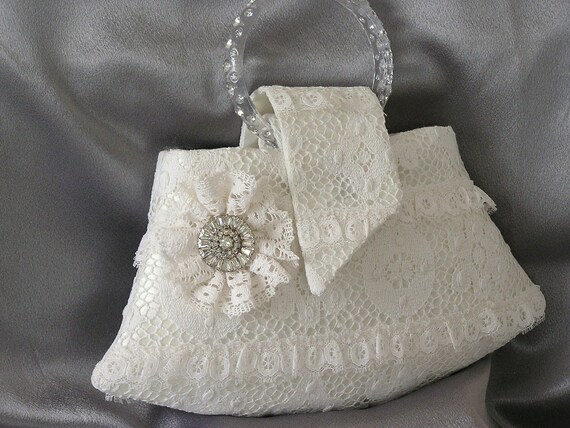 Vintage Lace 1920s Style Mini Bridal Evening Bag
