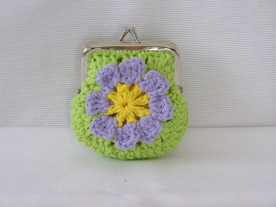 Small Framed Coin Purse Pouch Handmade From Two Crocheted Granny Squares