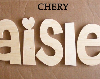 7 letters name set - 8 inch Unpainted  Wooden  Letters-Wood Letters-Wall Letters-Unfinished-Custom size available- Many Fonts