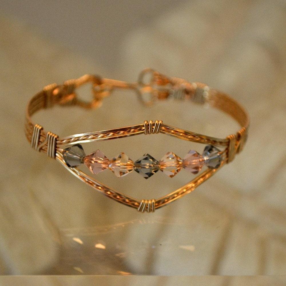 14k gold filled wire wrapped bracelet pastel swarovski