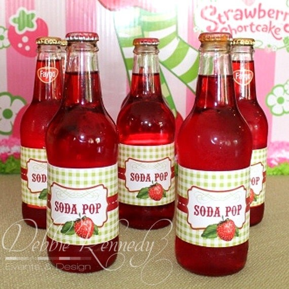 Strawberry Birthday Party Drink Bottle Wraps - DIY Printable - Do-It-Yourself - Very Berry Birthday Party