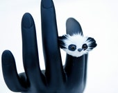 SALE - Furry Panda Face Adjustable Ring - buy one get one FREE