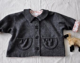Girls Italian wool and organic cotton flannel jacket 18/24 mo size
