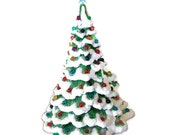 "Vintage Holiday Decor Ceramic Lighted Musical ChristmasTree - Black Friday Etsy Cyber Monday Etsy -Green  - 20 1/2"" 70's - vintagebytheseashore"