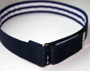 Kids Belt Navy Velcro D Ring Belt Ribbon Lined Monogram Belt Velcro Belt Childrens Velcro Belt Navy Boys Belt Blue School Belt Boys velcro