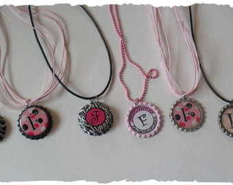 CLEARANCE Your Choice Of Initial F Bottlecap Necklace Pick your Style