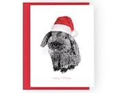 hoppy holidays - set of 10 holiday bunny santa hat cards - FREE U.S. shipping