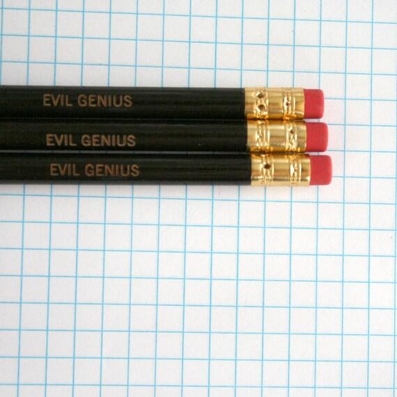 evil genius engraved pencil set 3 black pencils.